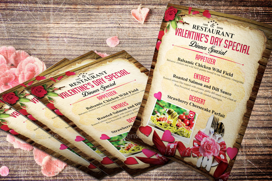 valentine menu flyer template