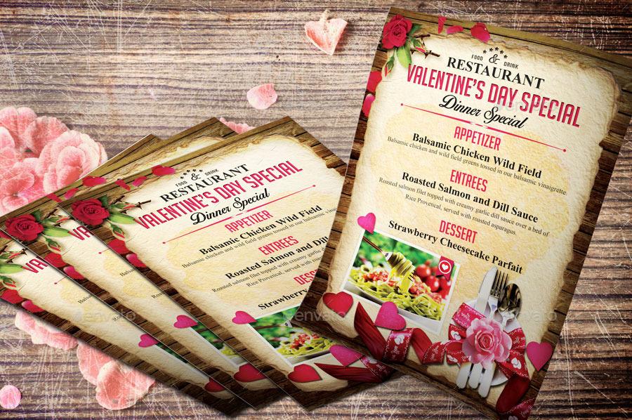 valentine menu flyer template