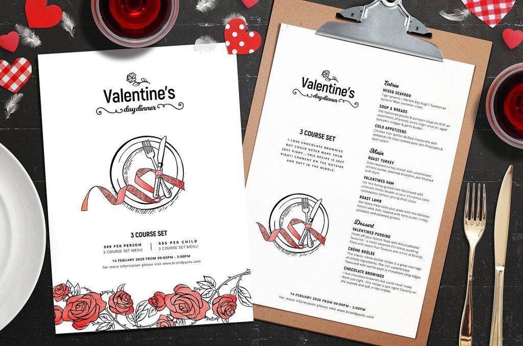 valentines menu template
