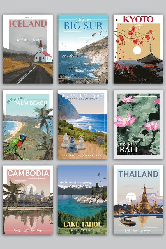 various destinations travel postcard example