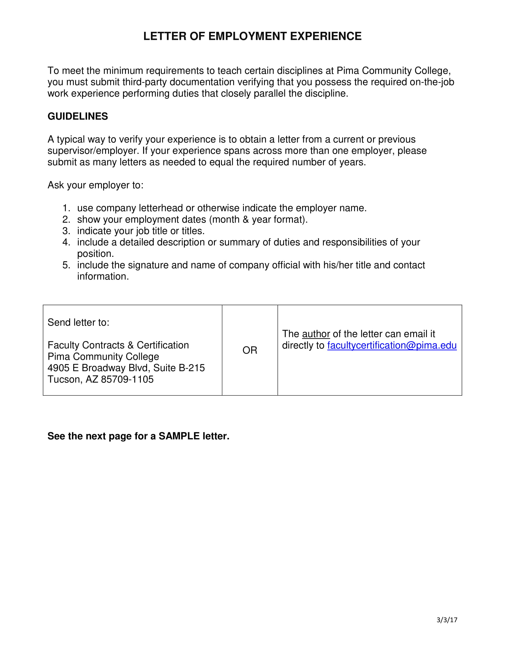 verification letter of employment experience example