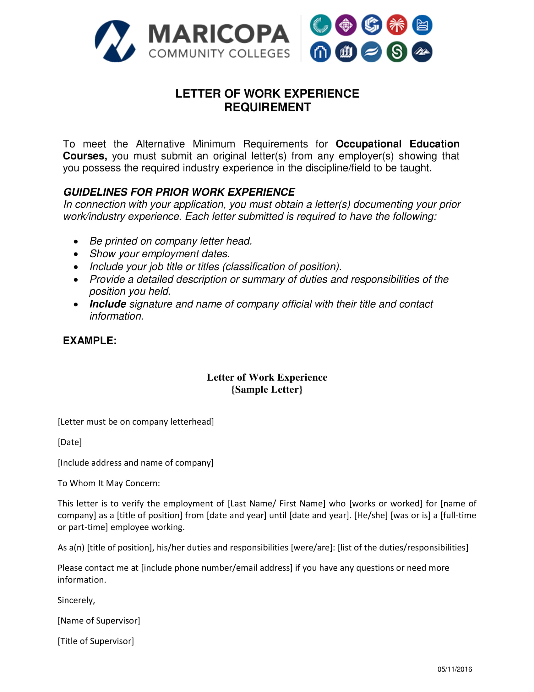 verification letter of work experience example