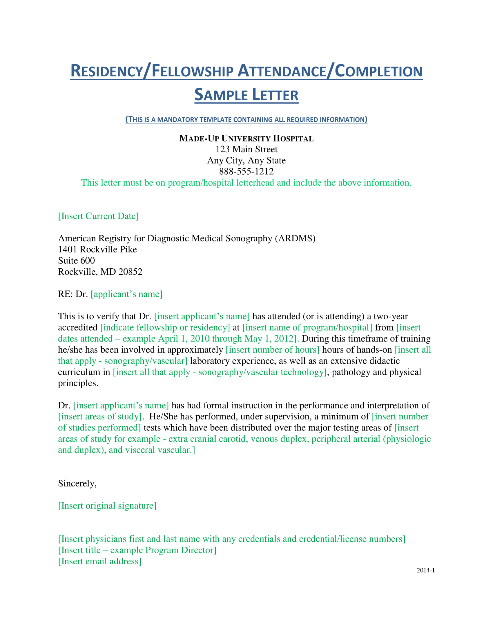 verification of residency fellowship attendance completion letter