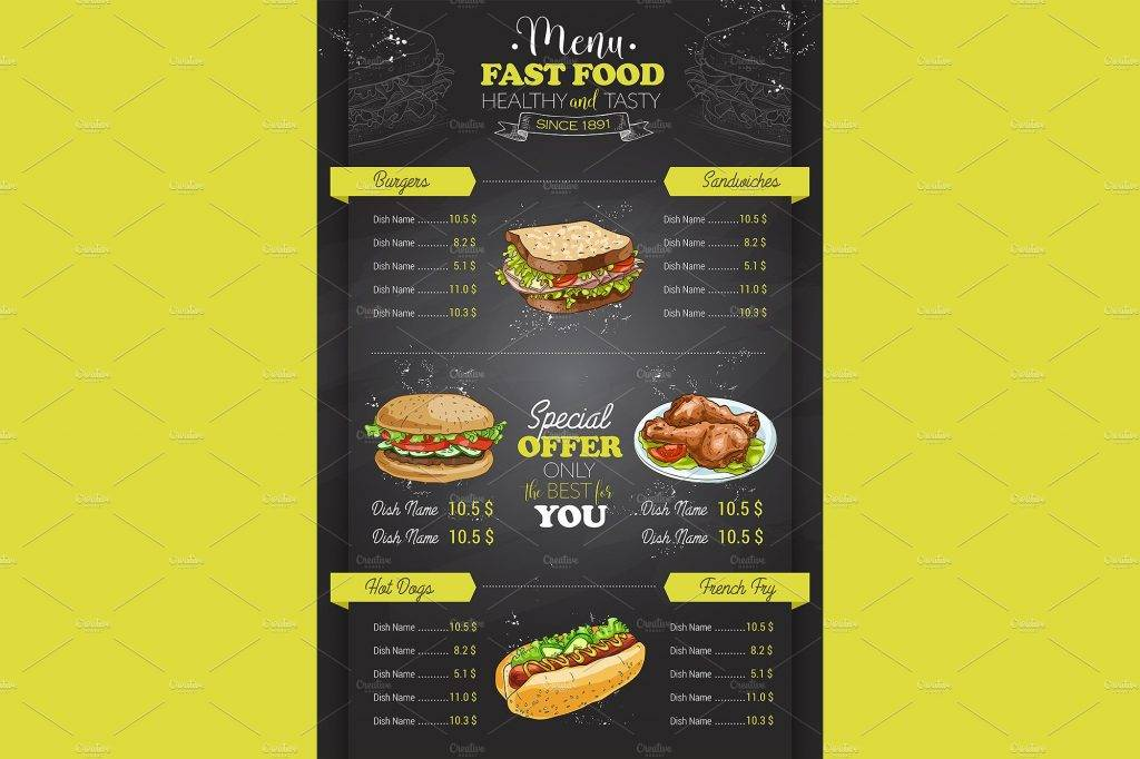 vertical fast food drive through menu example