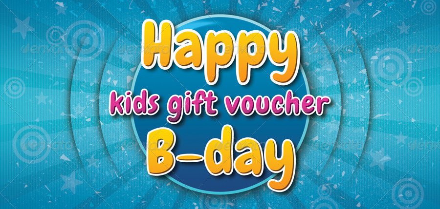vibrant kids birthday gift voucher example