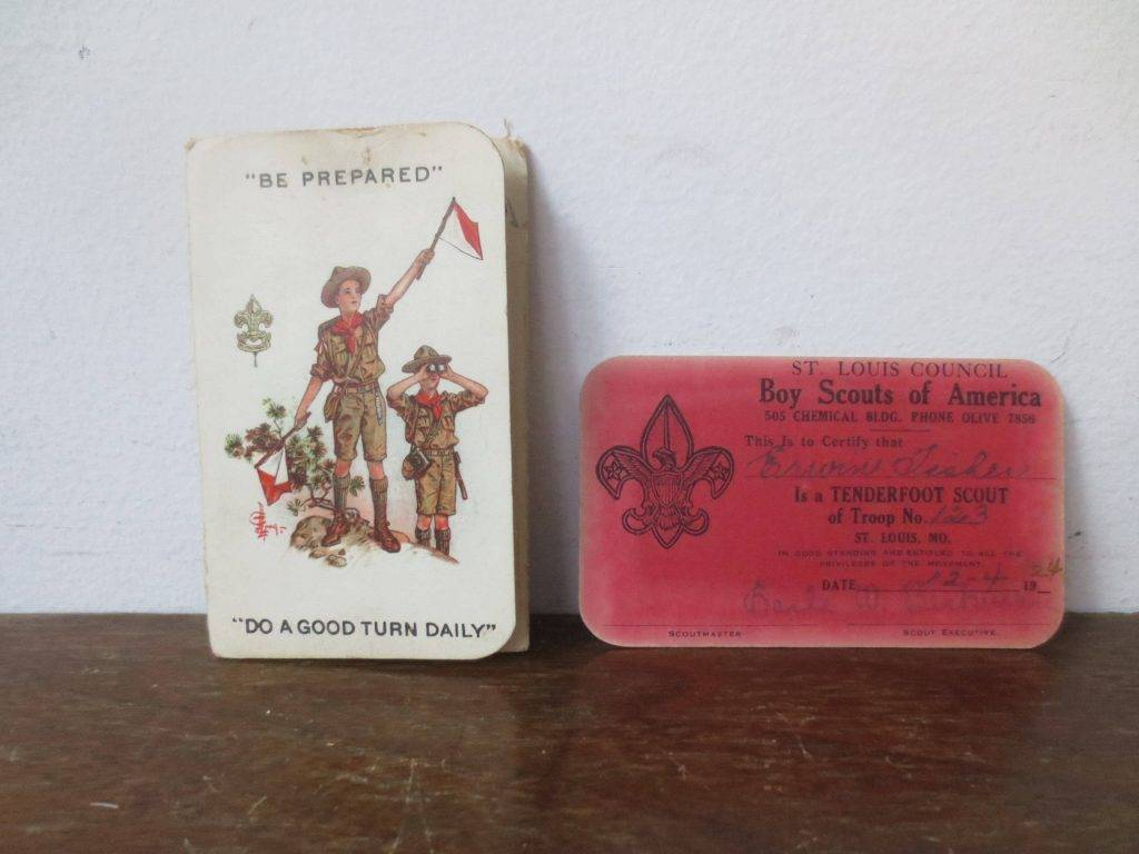 vintage 20s boy scouts of america membership card and certificate