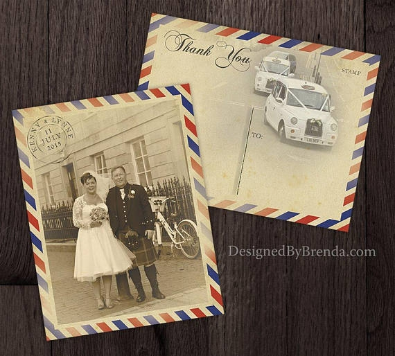 vintage air mail wedding thank you postcard example