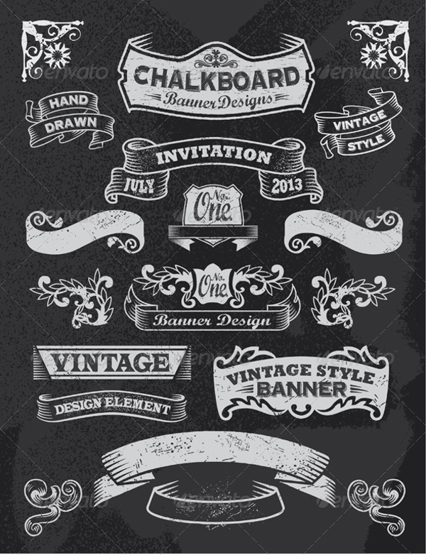 vintage banners and ribbons example