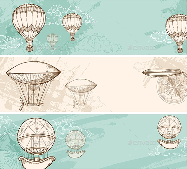 vintage banners with air balloons example