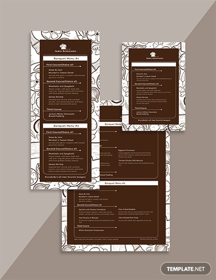 vintage banquet menu template