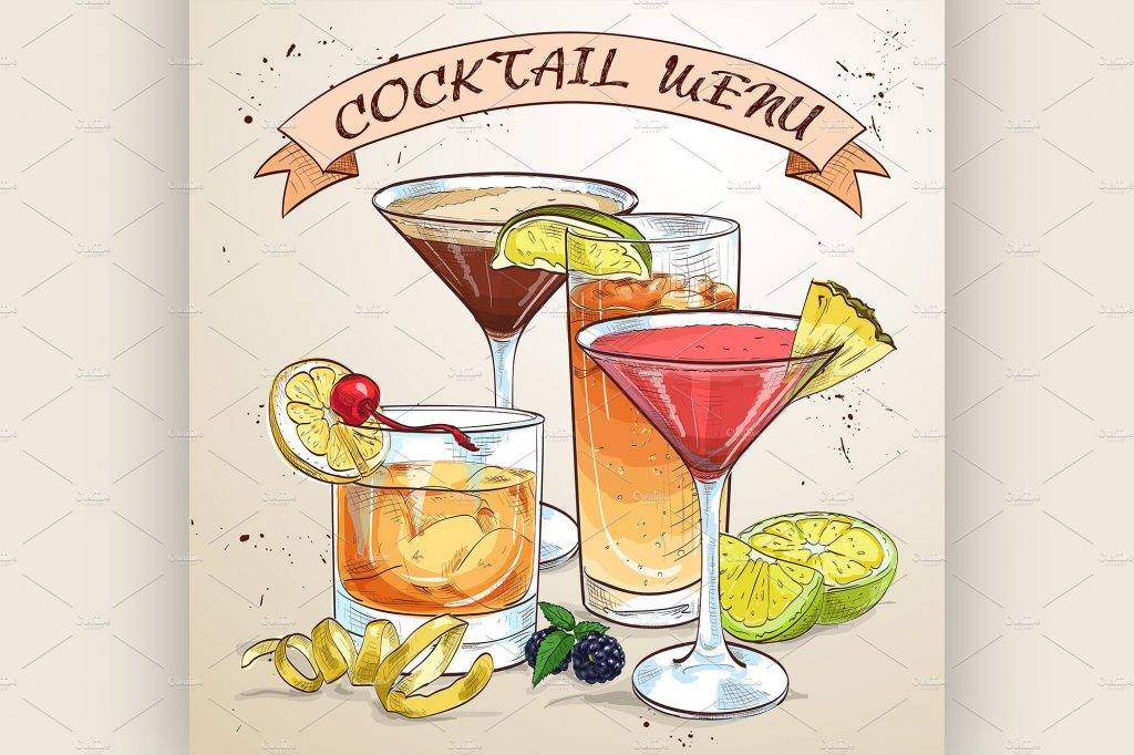 vintage cocktail menu example