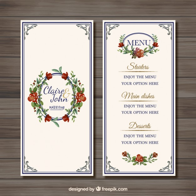 vintage floral wedding menu example