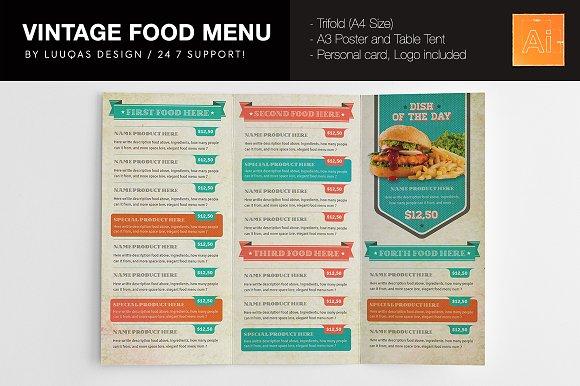 vintage food menu example