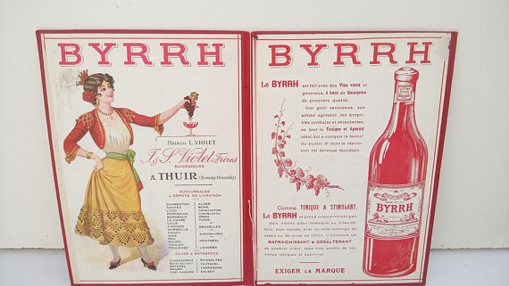 vintage french byrrh wine menu example