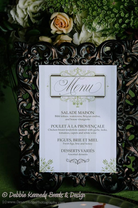 vintage french country menu card example