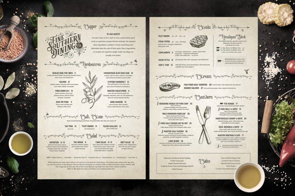 vintage inspired restaurant menu design example