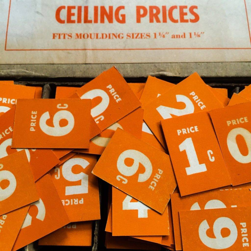 vintage paper ephemera grocery signage ceiling prices