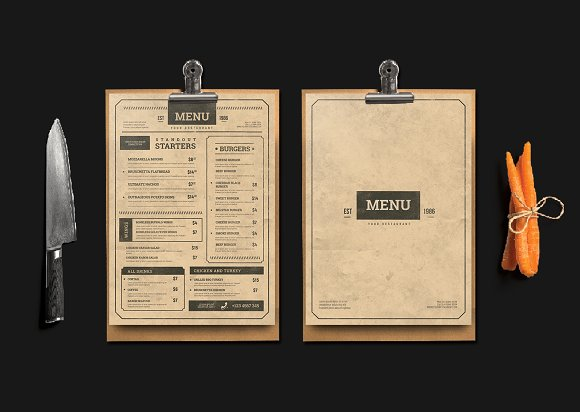 vintage styled party menu example