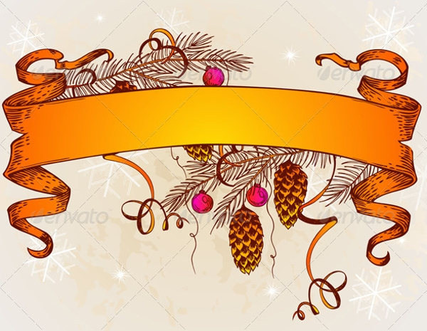 vintage vector christmas banner example