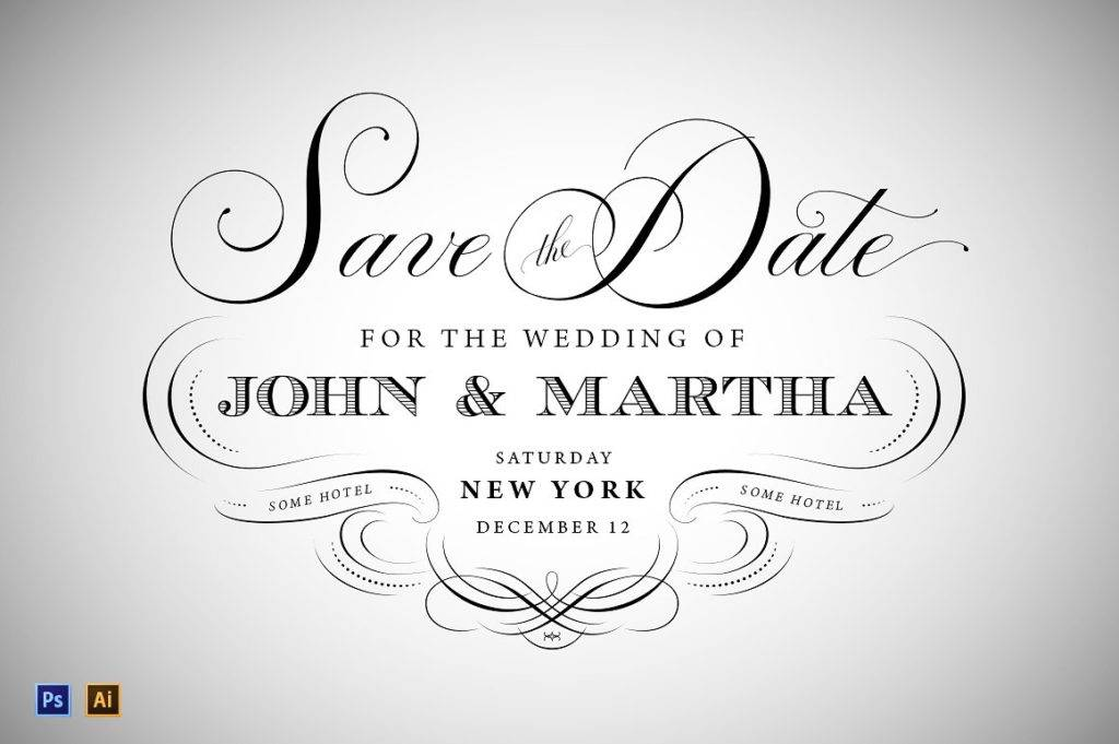 vintage wedding save the date designs example