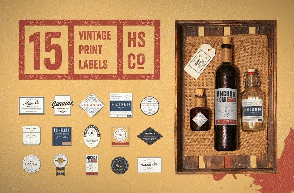 vintage wine print label design example