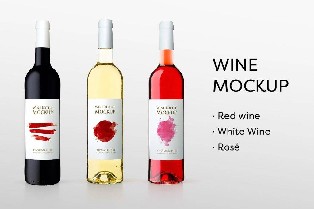 watecolor wine bottle design example