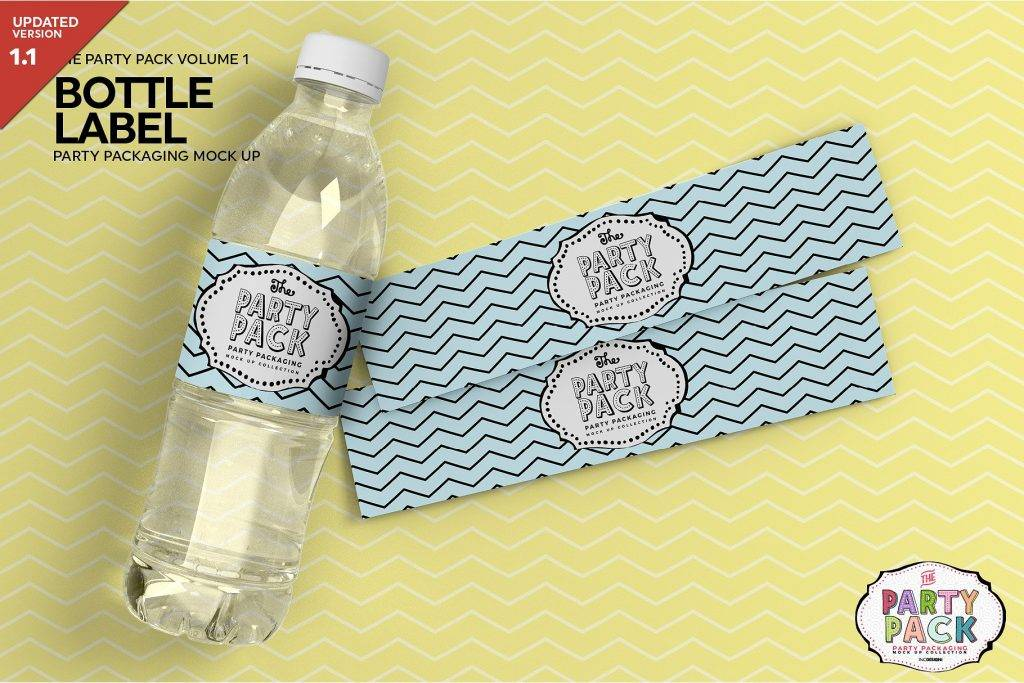 water bottle label packaging mock up example