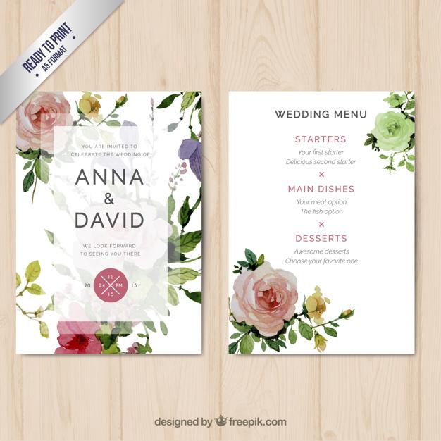 water colored flowers wedding menu example
