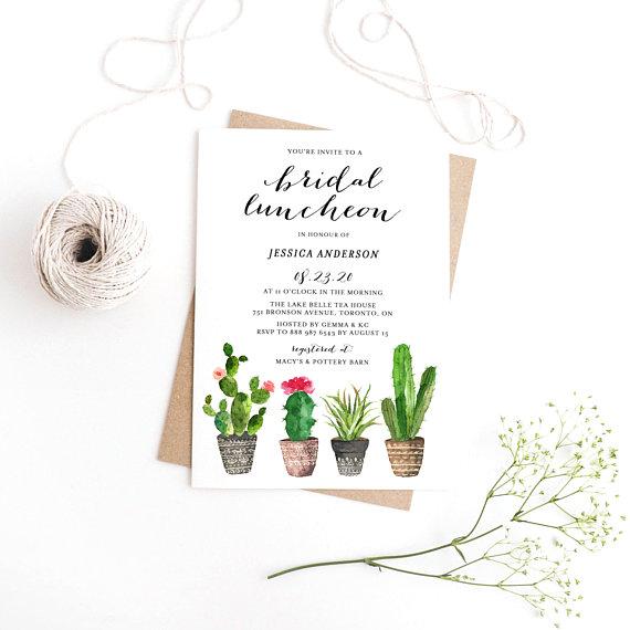 watercolor bridal luncheon invite example