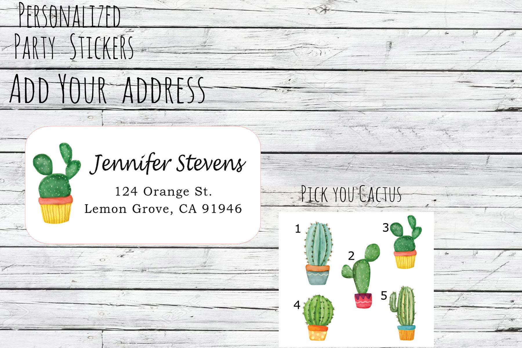 watercolor cactus return address label example