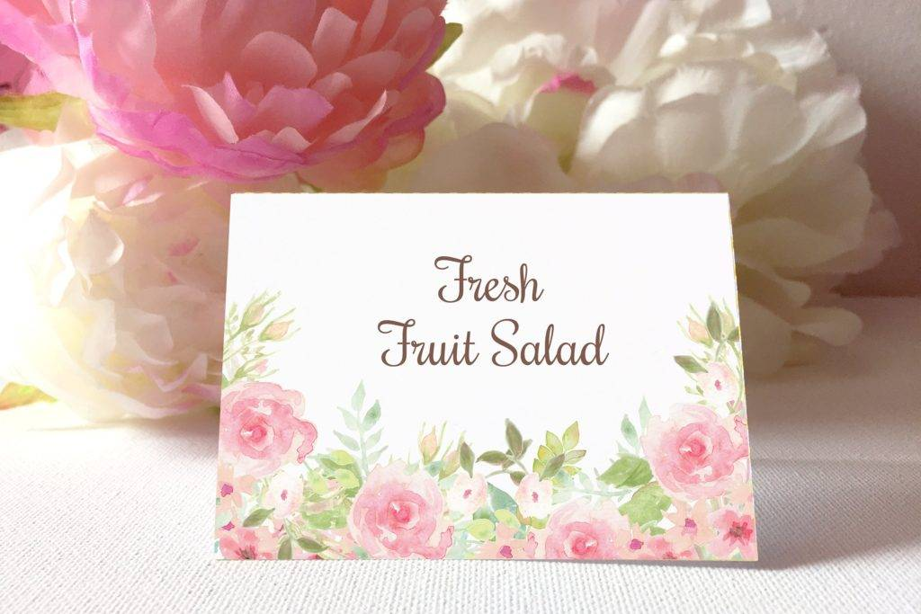 watercolor flowers table card example