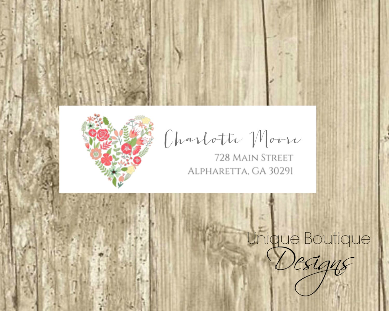 watercolor heart address label example