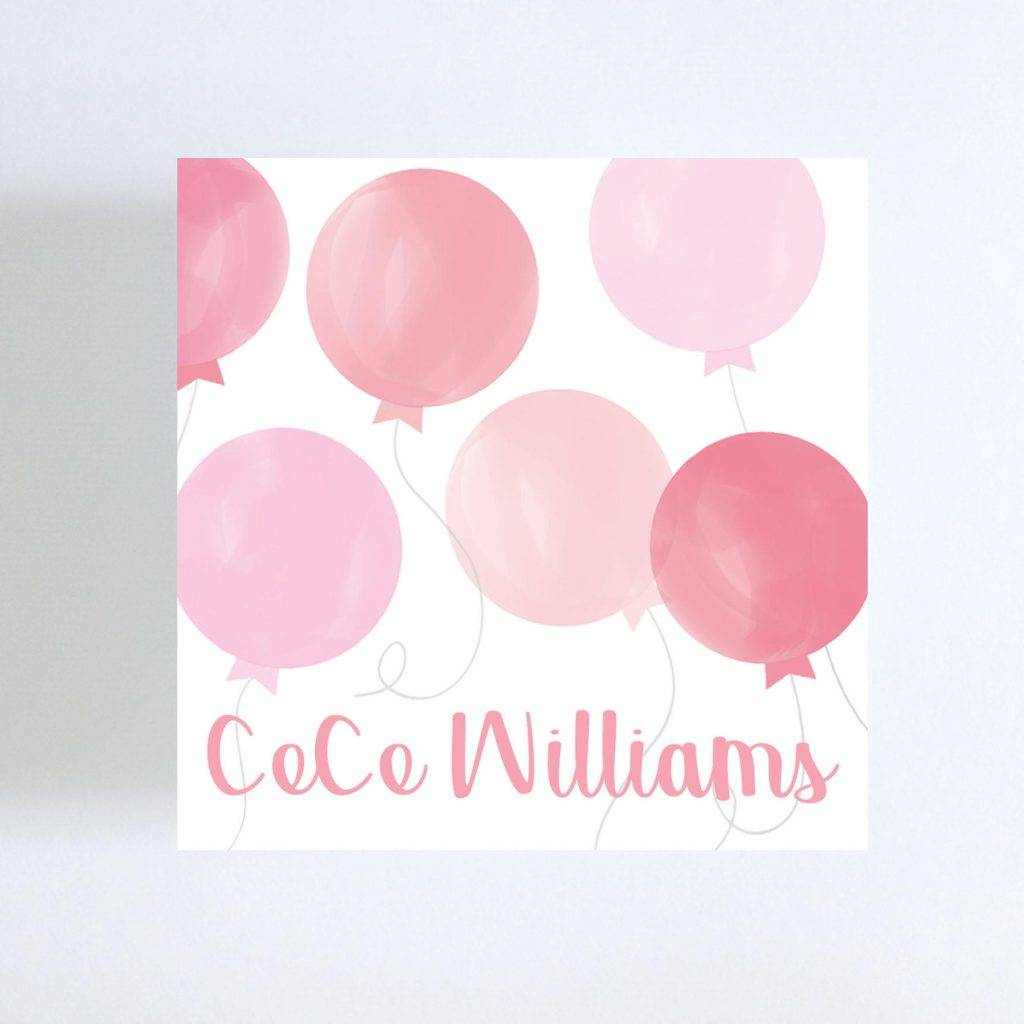 watercolor pink balloons visiting card example