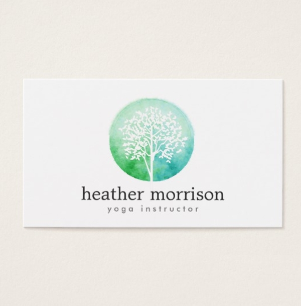watercolor tree yoga and wellness business card