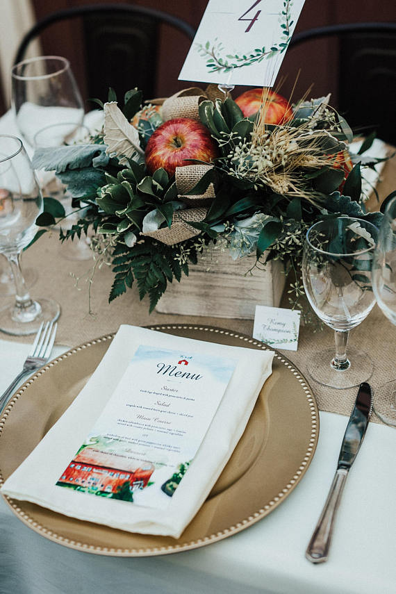 watercolor wedding food menu example