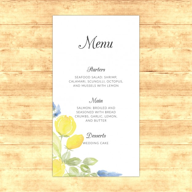 watercolor wedding menu example