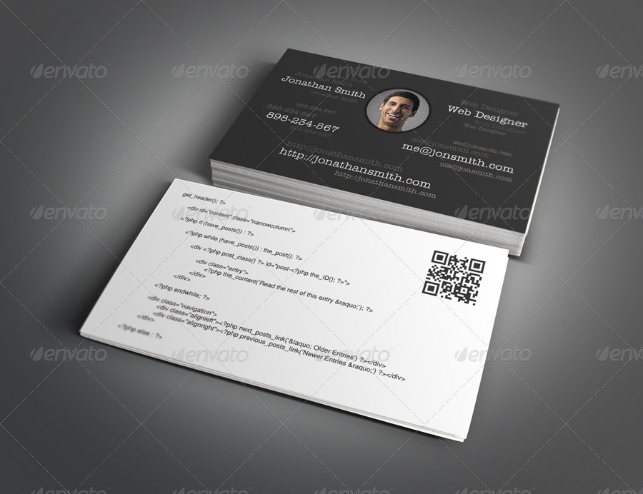 web designer and developer business card design example