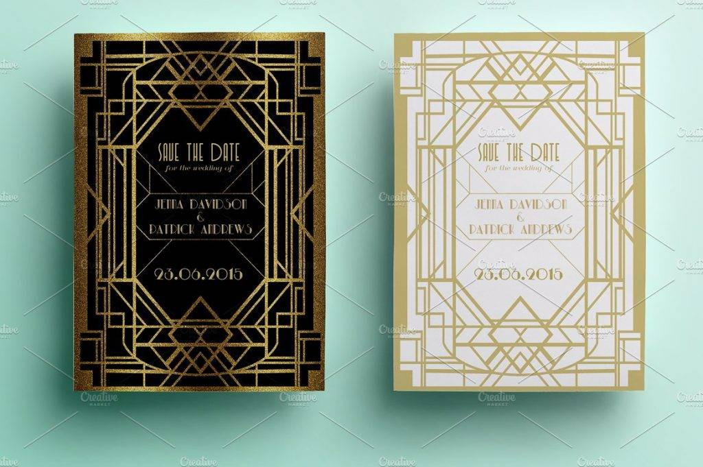 wedding art deco save the date example