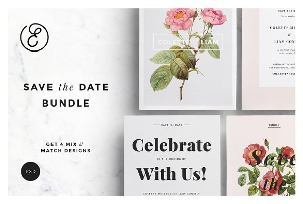 wedding botanical save the date bundle example