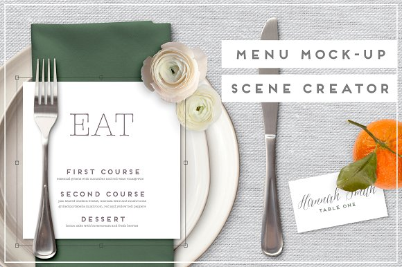 wedding menu mock up card example