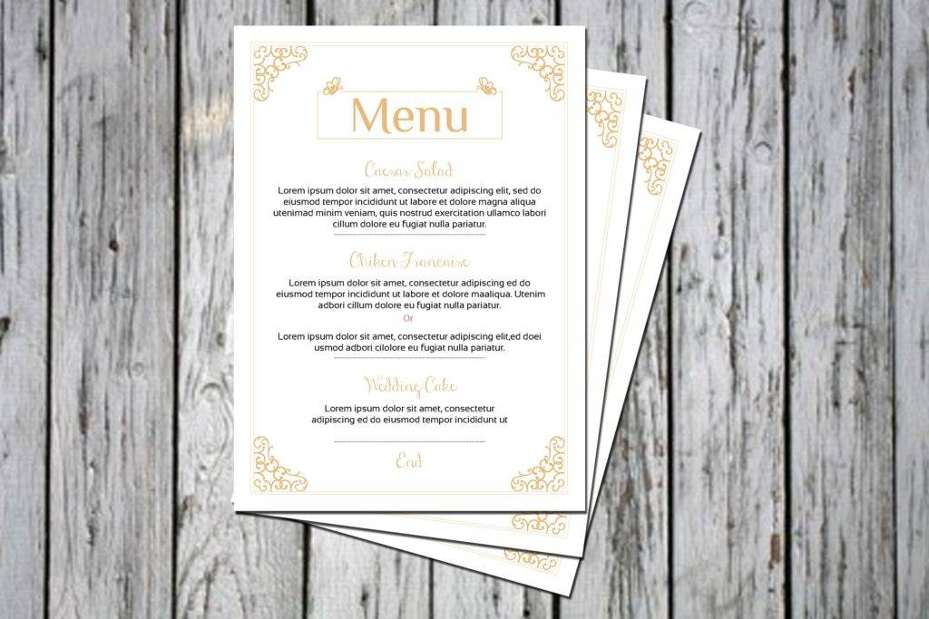 wedding menu with borders example