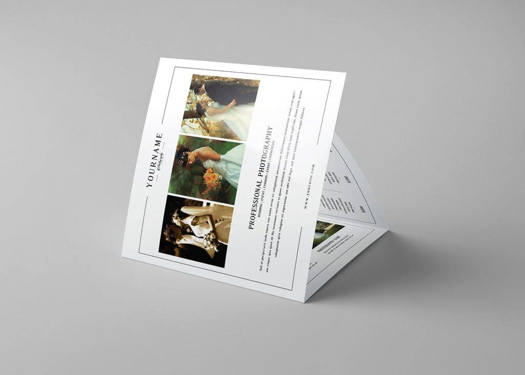 wedding photography square trifold example