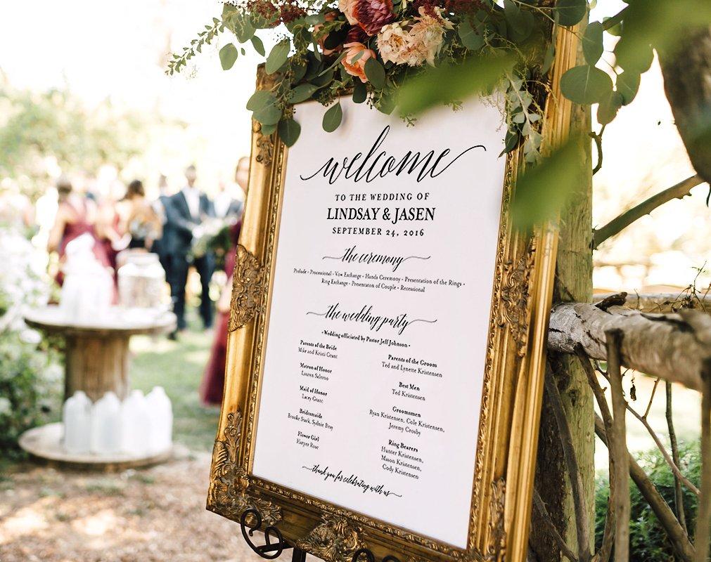 wedding program welcome signage design example