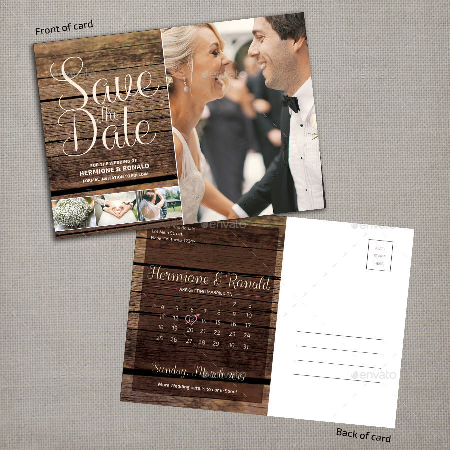 wedding save the date calendar postcard example