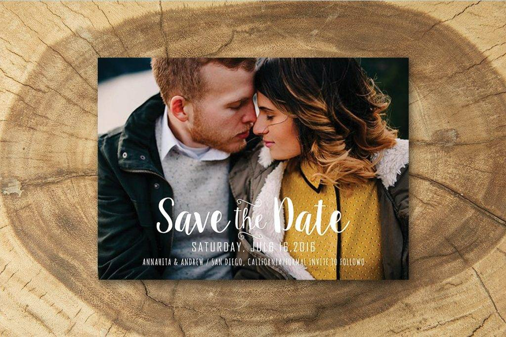 wedding save the date photo card example