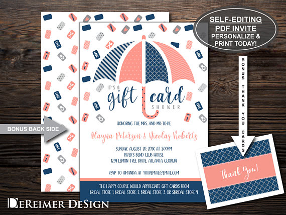 wedding shower gift card example