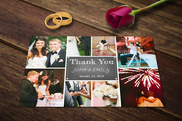 wedding thank you card template psd example