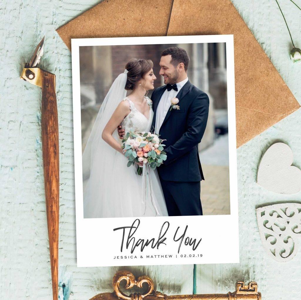 wedding thanks photo card example