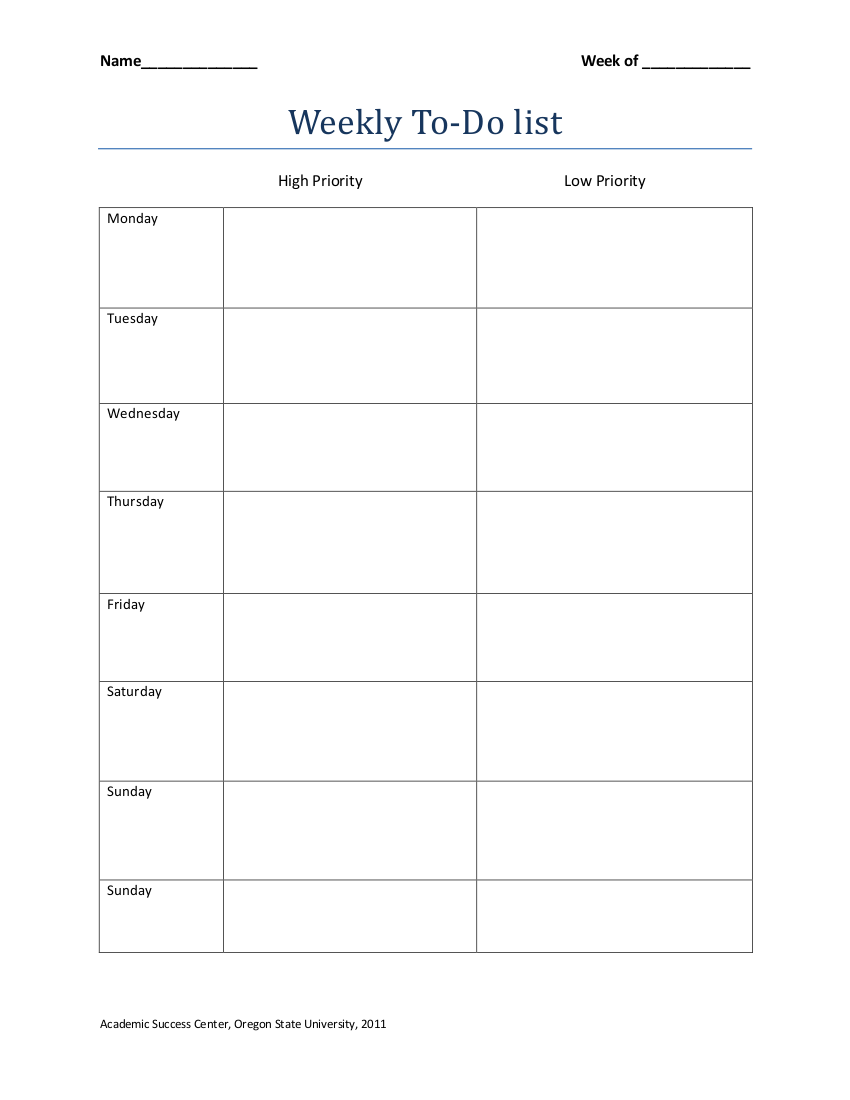 weekly to do list template example