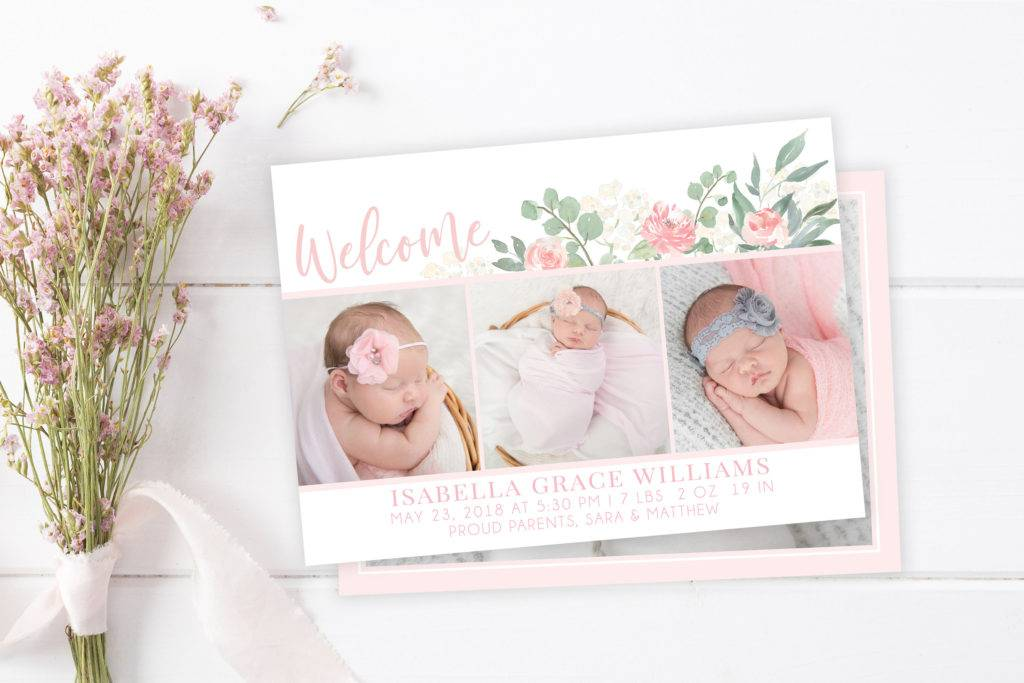 welcome baby girl floral birth announcement template example